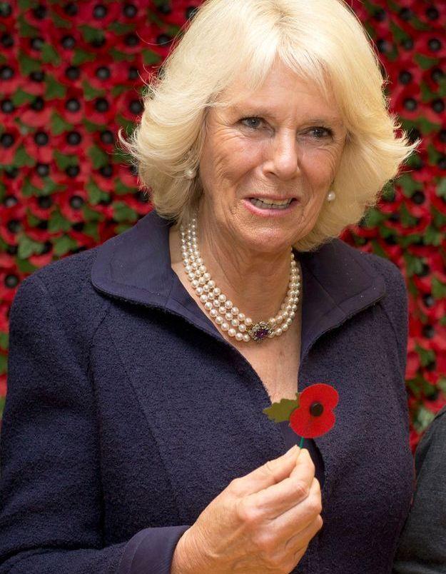 La duchesse de Cornouailles en octobre 2013 lors de la visite de la Poppy Factory de Richmond