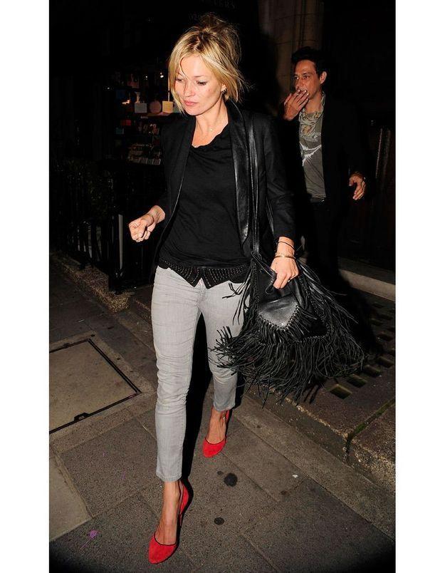 Kate Moss en juillet 2009 à la sortie d'une soirée privée.
