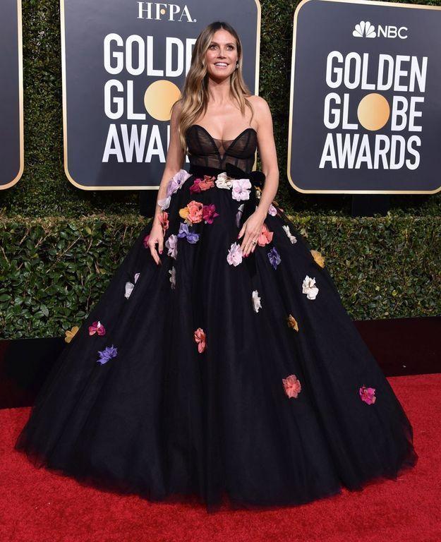 Heidi Klum en maxi robe décolletée