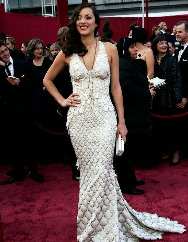 Histoire d'une tenue : la robe sirène de Marion Cotillard lors des Oscars en 2008