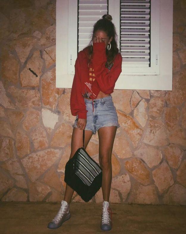 Doutzen Kroes en short en jean et sweat court