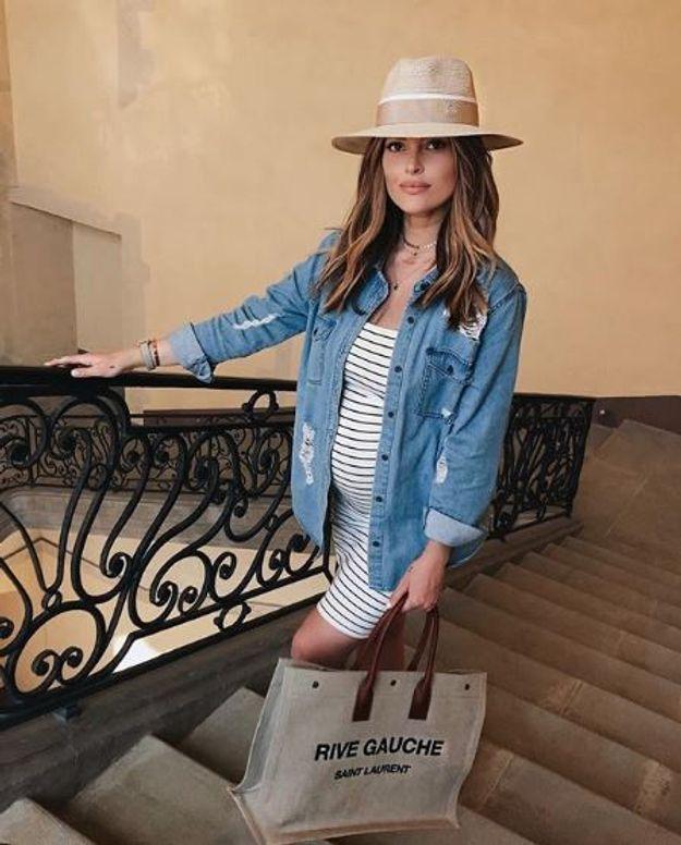 Caroline Receveur et sa chemise en jean