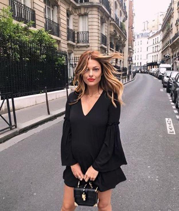Caroline Receveur et sa petite robe noire