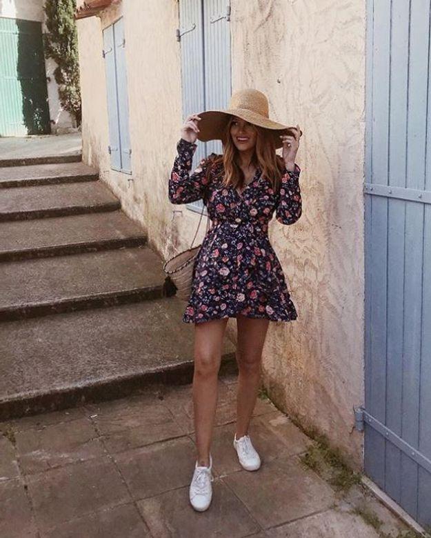 Caroline Receveur et sa robe florale