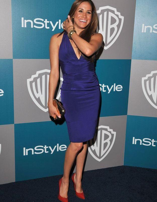 En 2012, elle opte pour une jolie robe bleue électrique.