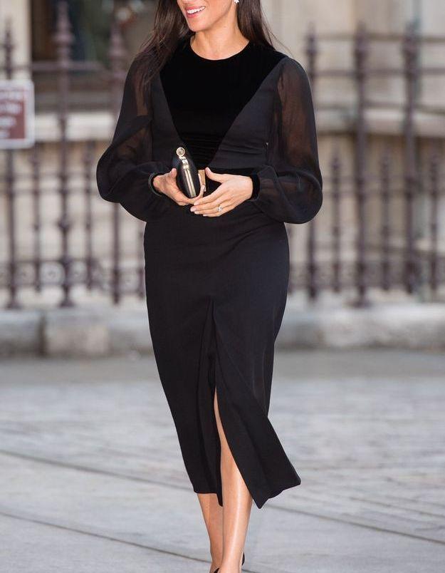 Le total look noir de Meghan Markle