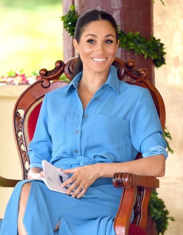 Meghan Markle en robe bleue turquoise
