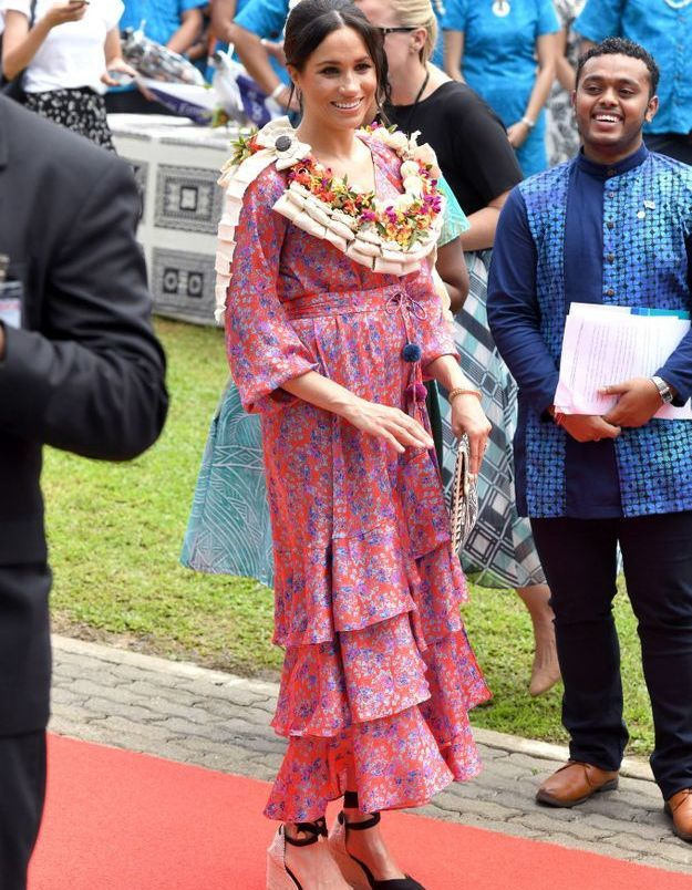 Meghan Markle en robe fleurie à volants
