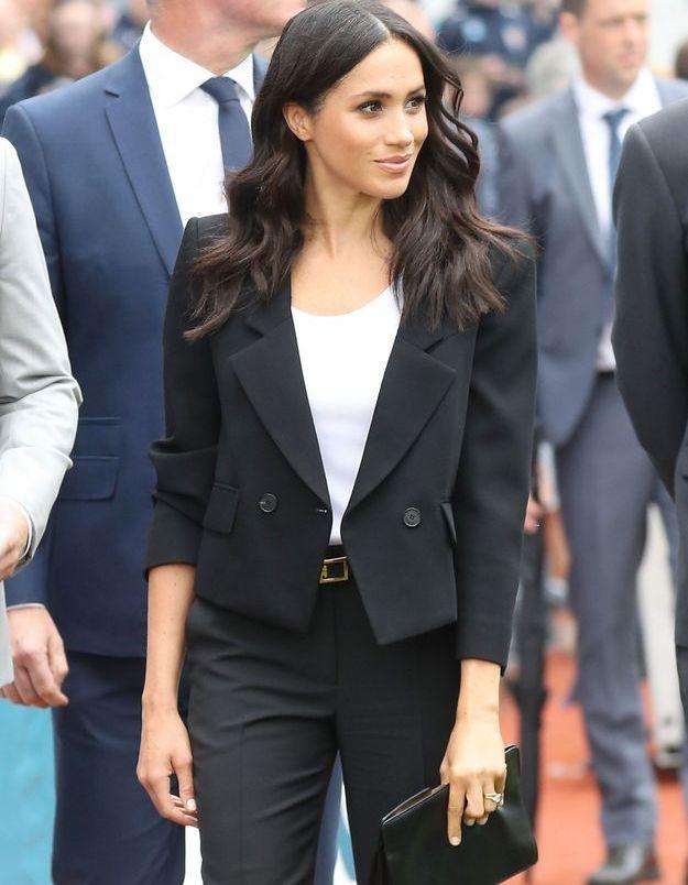 Meghan Markle, en tailleur Givenchy, sa marque fétiche