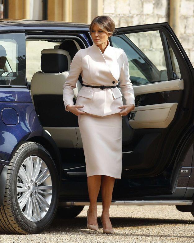 Melania Trump arrive au chateau de Windsor pour rencontrer Elizabeth II