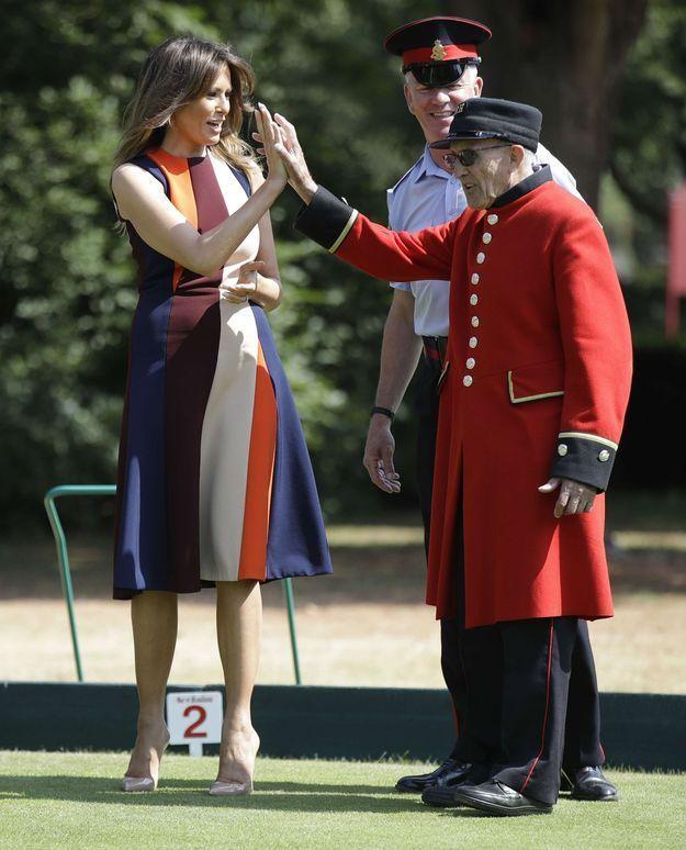 Melania Trump au côté d'un vétéran britannique