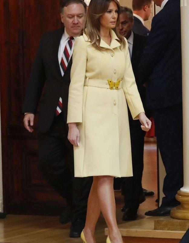 Melania Trump en tailleur jaune