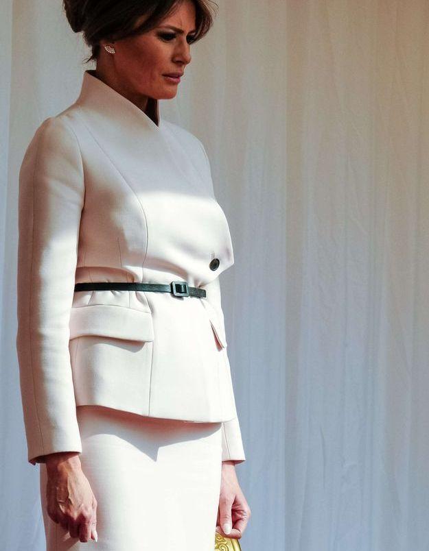 Melania Trump en tailleur rose poudré