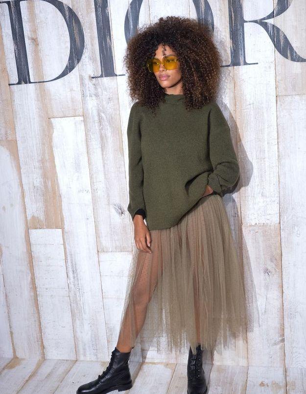 Tina Kunakey en total look Dior