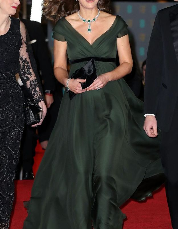 Kate Middleton et sa robe verte vaporeuse  en février 2018, à la British Academy Film Awards de Londres.