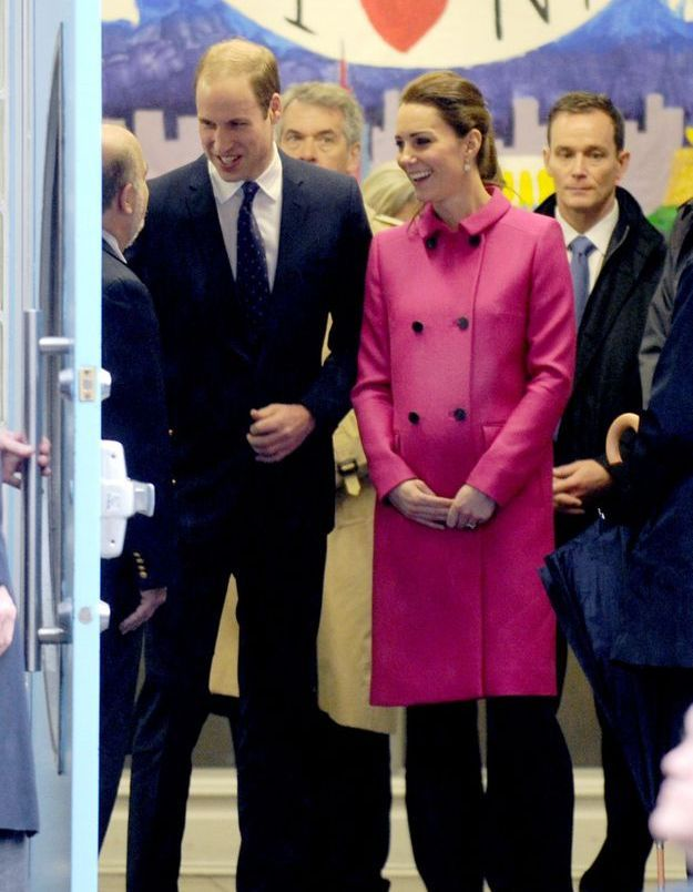 Kate Middleton et son manteau rose Mulberry en 2014 à New York