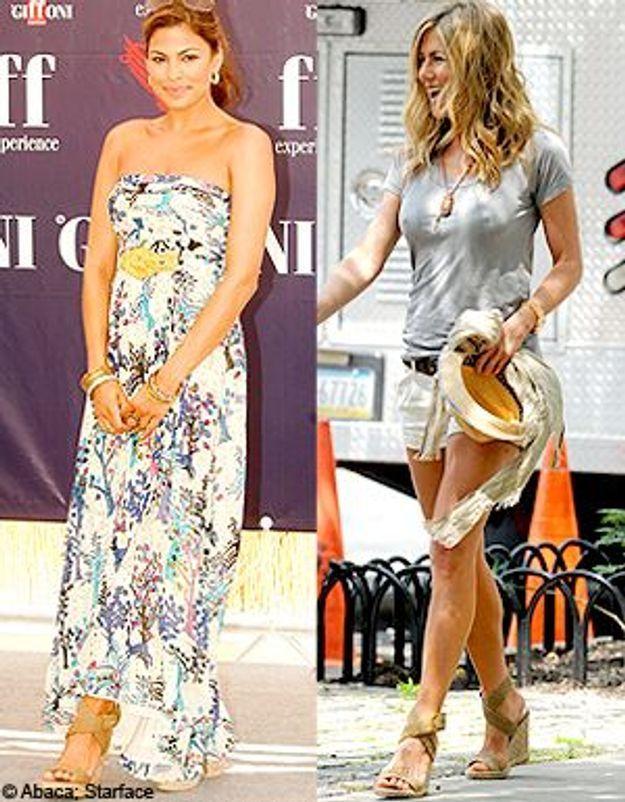Jennifer Aniston et Eva Mendes : une chaussure, deux styles