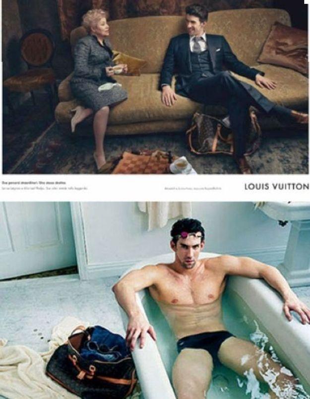 Le nageur Michael Phelps pose pour Louis Vuitton