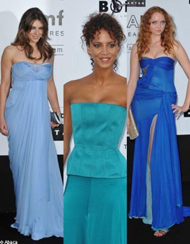 Lily Cole, Liz Hurley et Noémie Lenoir : camaïeu de bleu au diner de l'amFar
