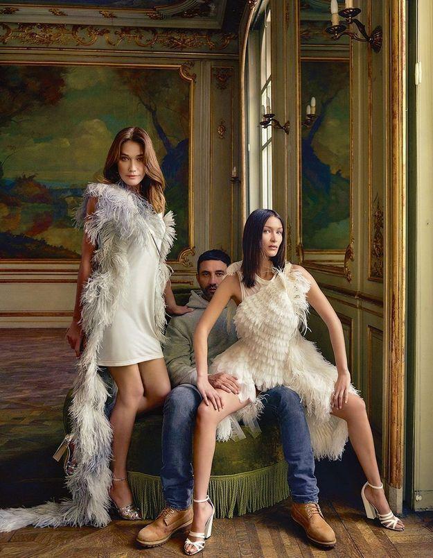 Carla Bruni et Bella Hadid réunies par Riccardo Tisci, le créateur star de Burberry