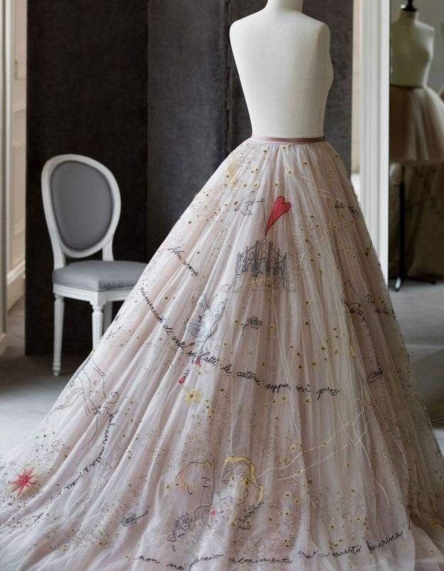 Le jupon de la robe de soirée pour le mariage de Chiara Ferragni, par la maison Dior