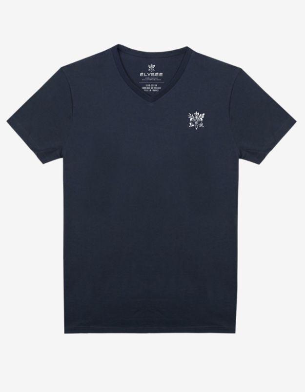 T-shirt bleu marine brodé