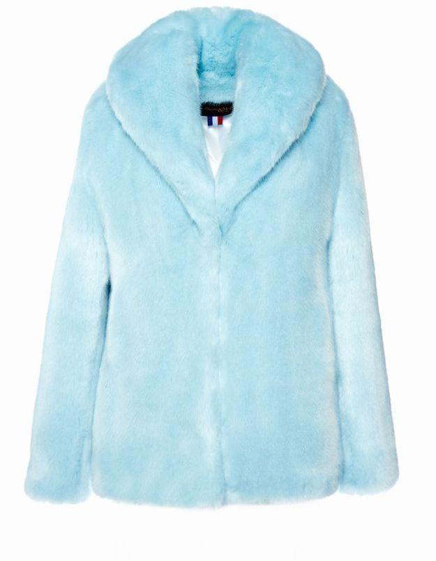 Manteau en fausse fourrure bleu ciel La Seine & Moi