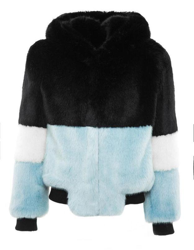 Manteau en fausse fourrure bleu et noir La Seine & Moi
