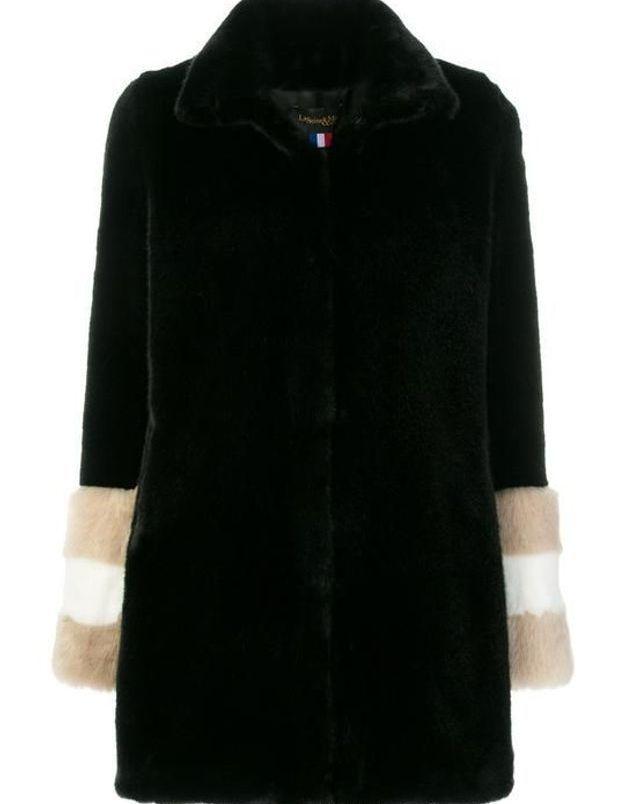 Manteau en fausse fourrure noir et beige La Seine & Moi