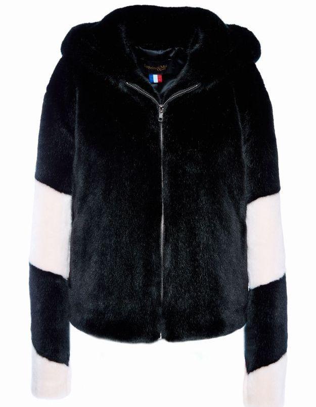 Manteau en fausse fourrure noir et rose La Seine & Moi