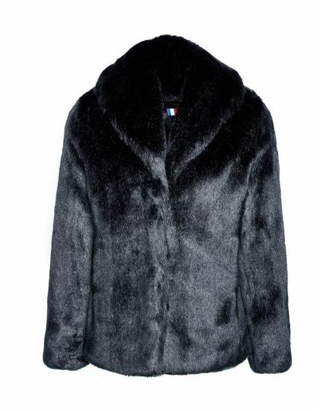 Manteau en fausse fourrure noir La Seine & Moi
