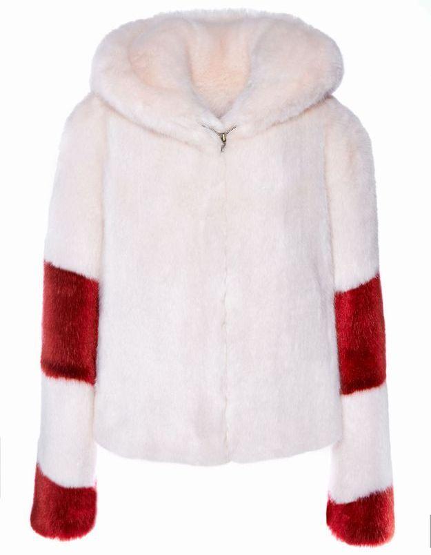 Manteau en fausse fourrure rose et rouge La Seine & Moi
