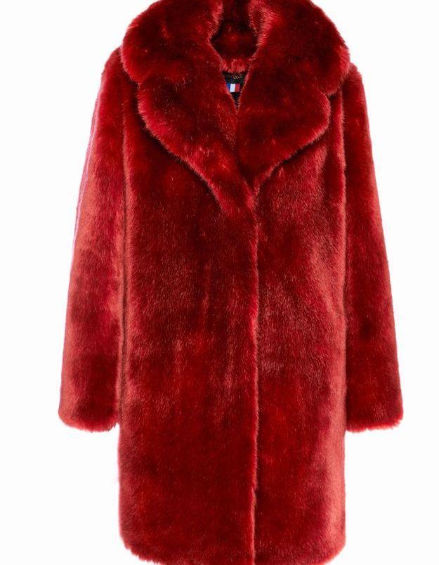 Manteau en fausse fourrure rouge La Seine & Moi