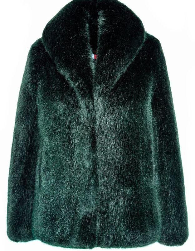 Manteau en fausse fourrure vert La Seine & Moi