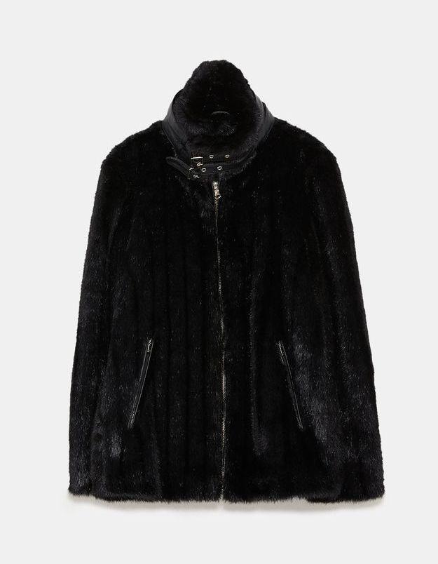 Manteau fausse fourrure Zara