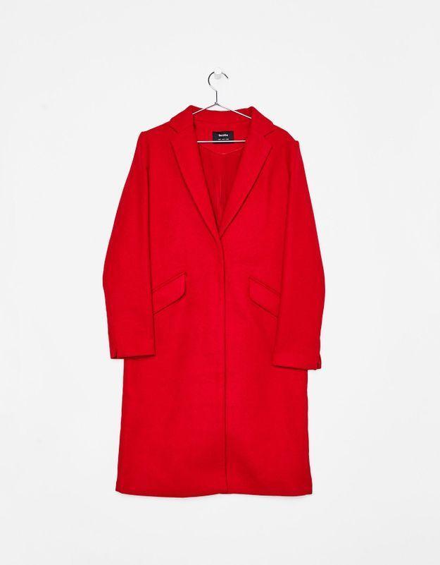 Manteau rouge androgyne Bershka