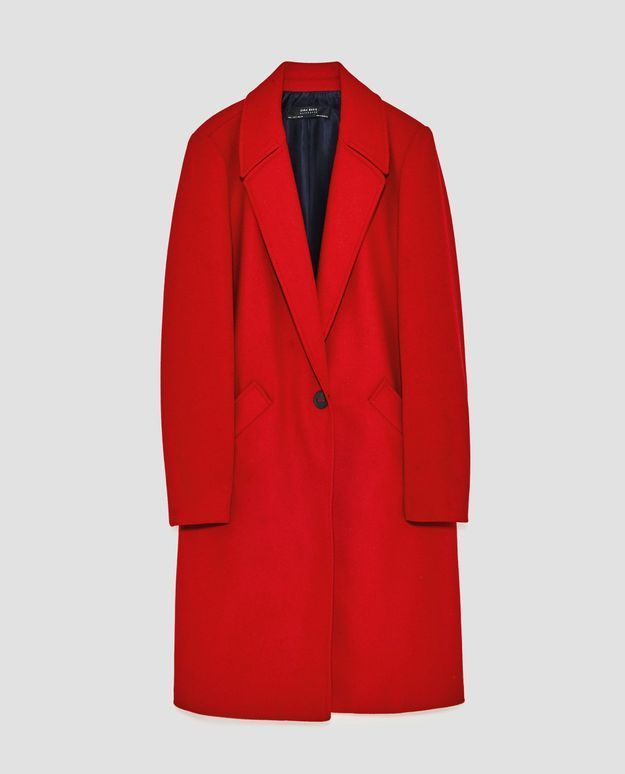 Manteau rouge long Zara