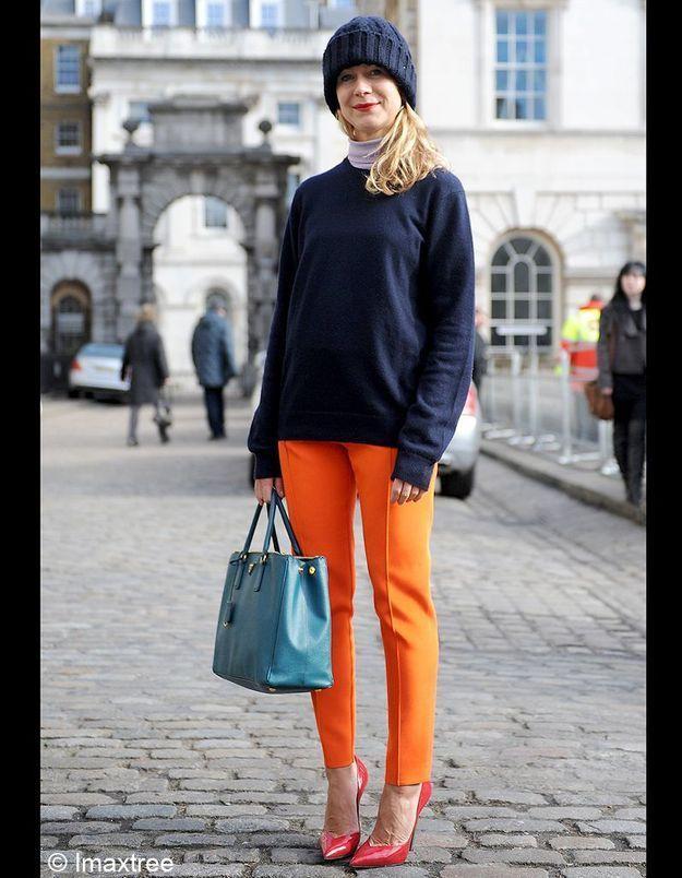 01blonnet Bleu Marine Pantalon Orange