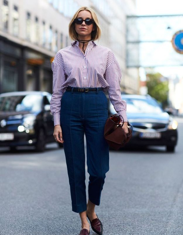 Look less is more avec une chemise rayée