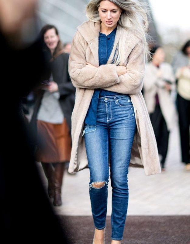 Look d'hiver en jean