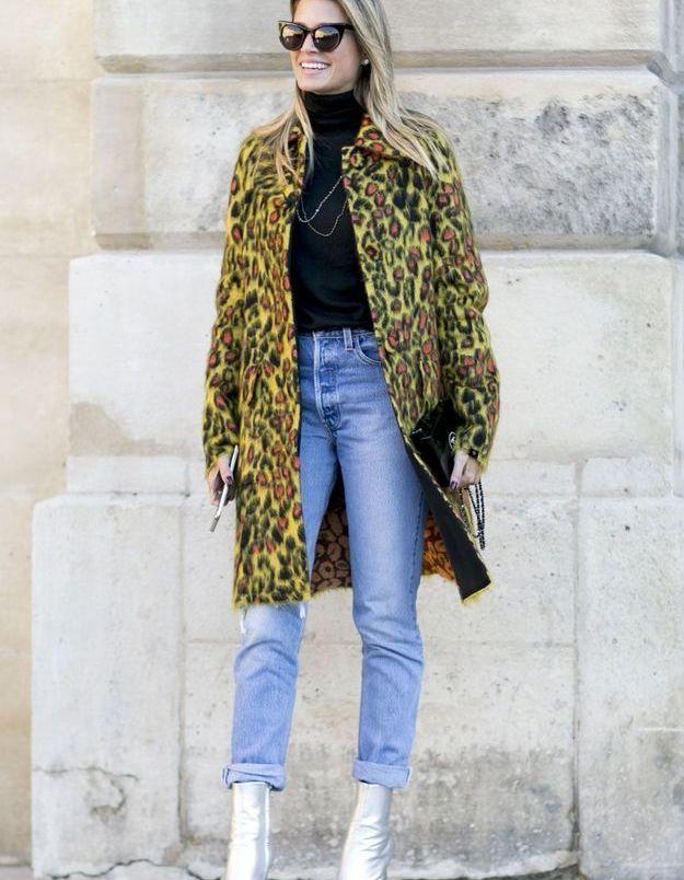 Look d'hiver manteau léopard et jean mom