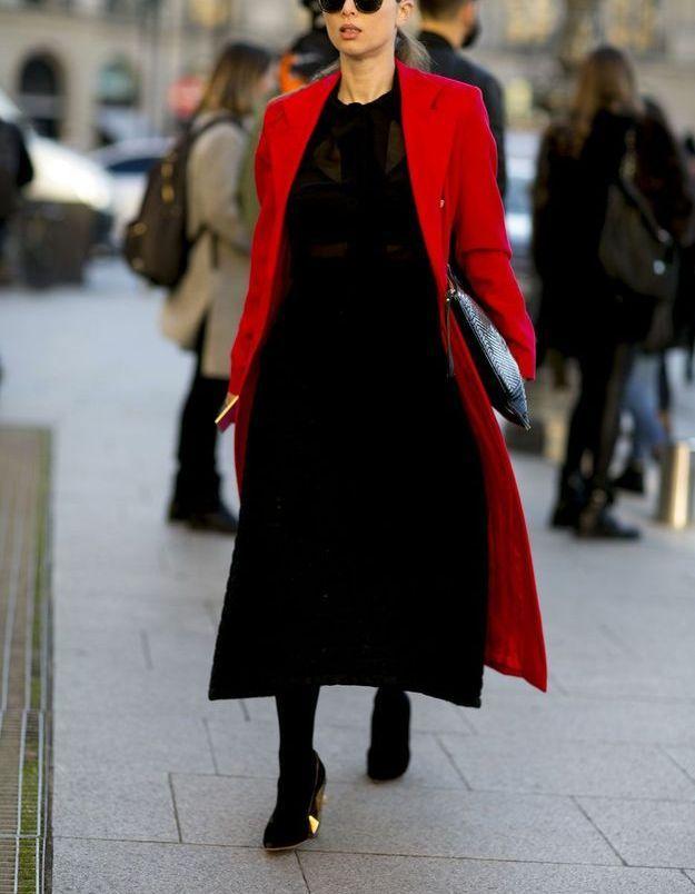 Look d'hiver rouge et noir