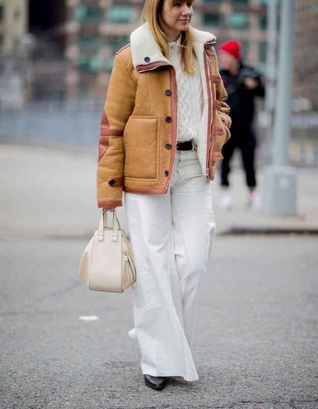 Une peau lainée pour réchauffer un total look blanc