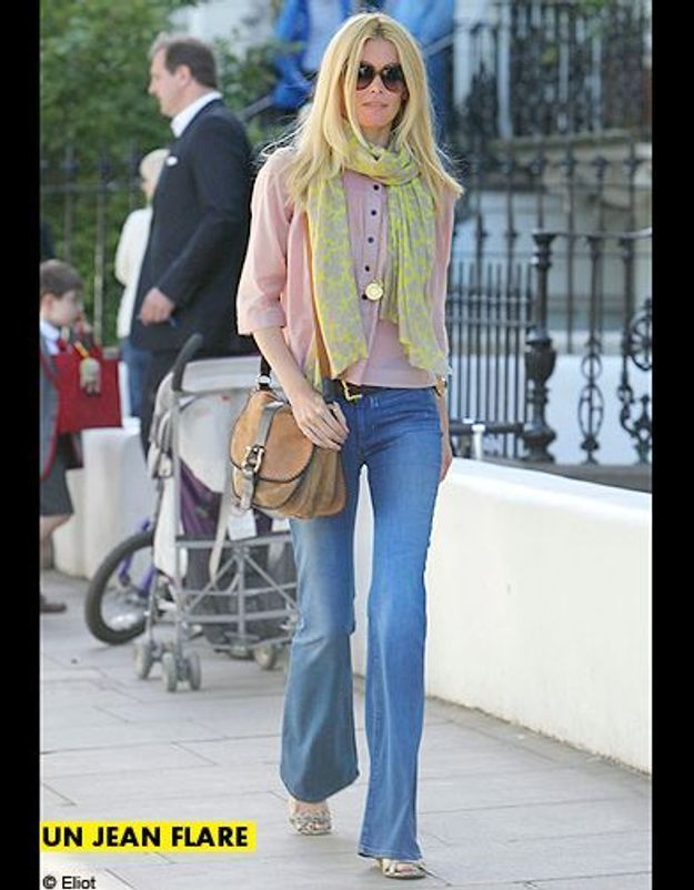 Mode tendance shopping jean look jean flare claudia schiffer