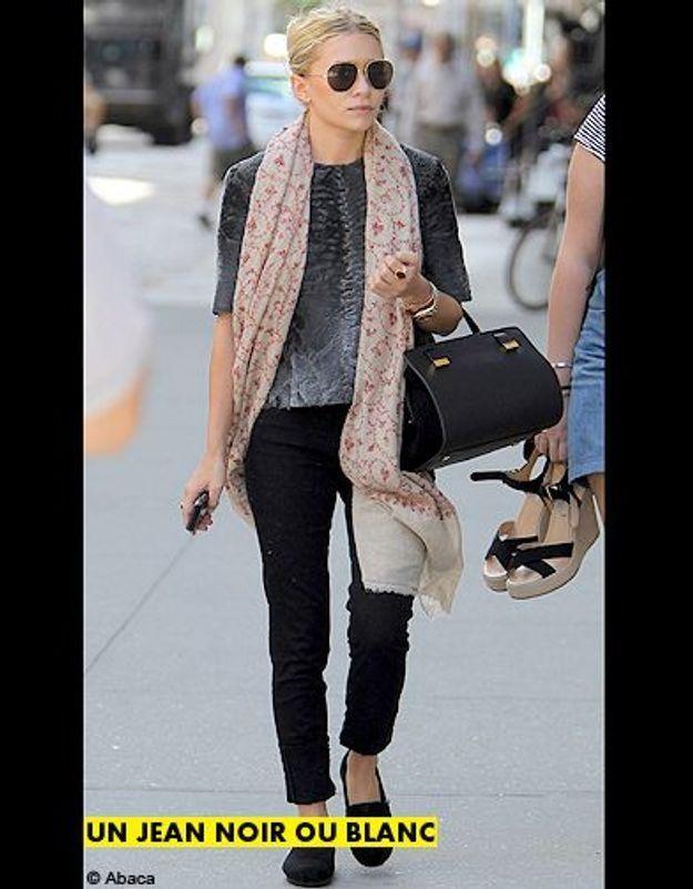 Mode tendance shopping jean look jean noir blanc olsen