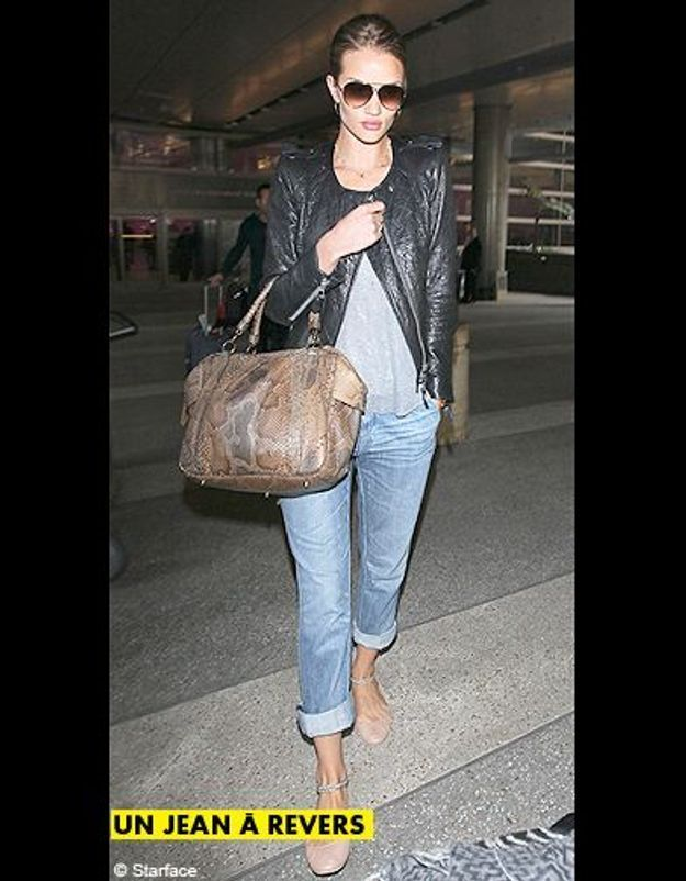 Mode tendance shopping jean look jean revers rosie huntington whiteley