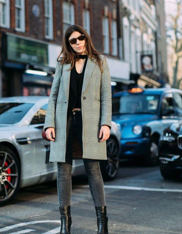 Jean noir + veste à carreaux