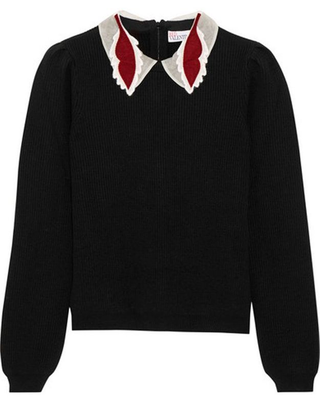 Pull à col Claudine noir Red Valentino