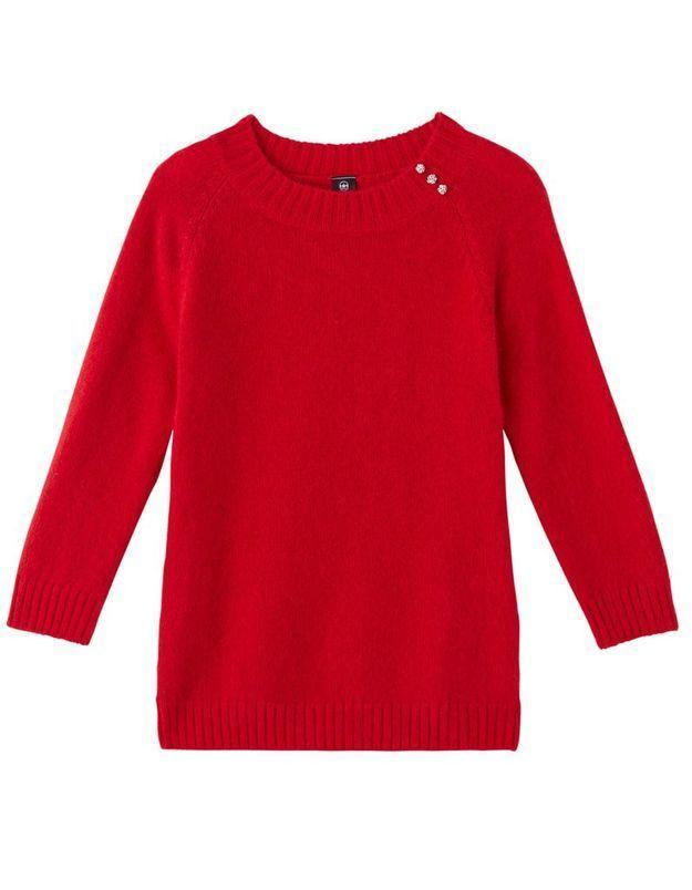 Pull en laine rouge Un jour ailleurs