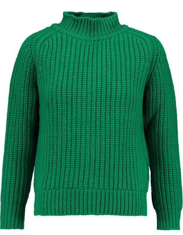 Pull en laine vert Maison Kitsune